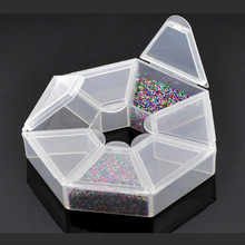 Plastic Clear Hexagonal Powder Liquid Carrring Display Container Case Storage Box 9x9x2cm(China (Mainland))