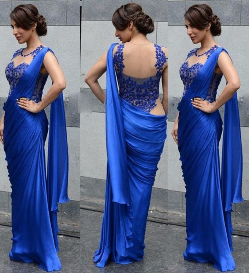 Indian Saree Evening Dresses Mermaid Floor Length Lace Formal Royal Blue Chffon Evening Gowns China(China (Mainland))