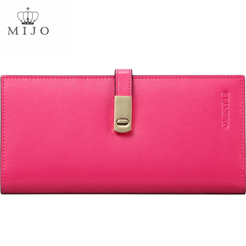 2015 HOT sale Fashion Lady Women popular Purse Rose Red Long Wallet Bags Cow Handbags Card Holder Birthday Gift OMT8(China (Mainland))