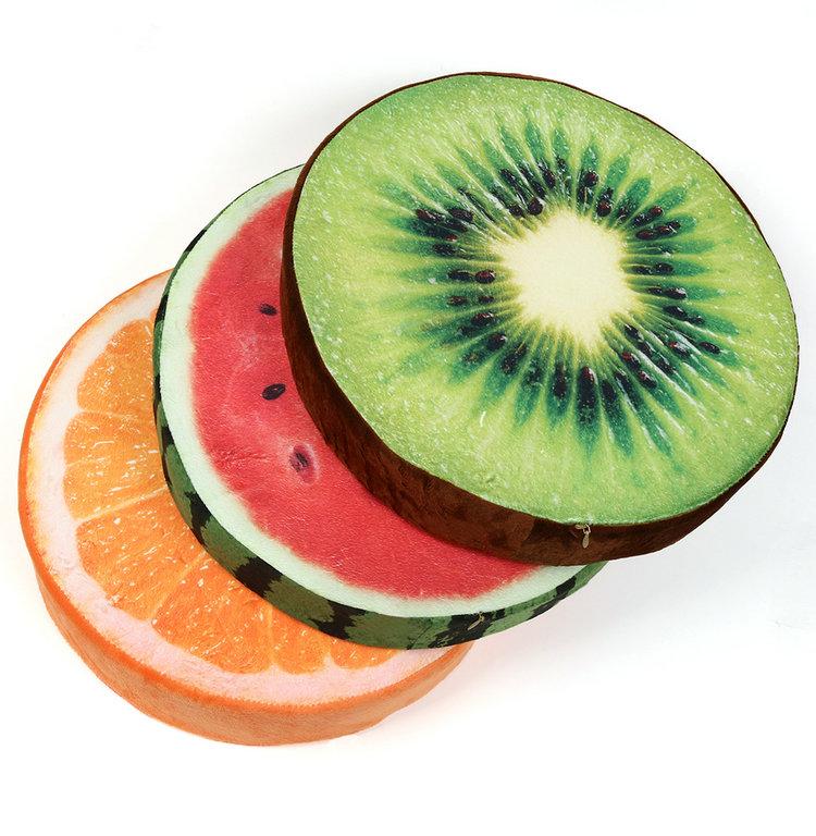 Soft plush soft seat cushion fruit watermelon oranges kiwi for Decoration kiwi
