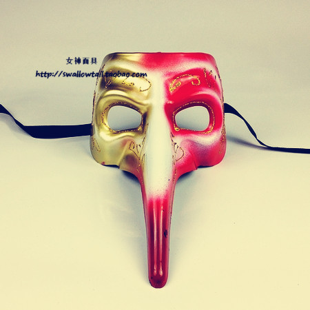 Mask long mask bird mask gold red