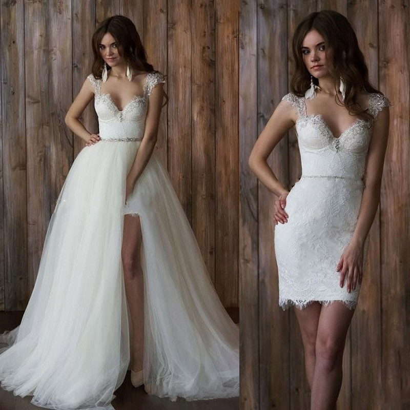 Beach Wedding Dresses Short In Front Long In Back : Cap sleeve piece wedding dress short front long back