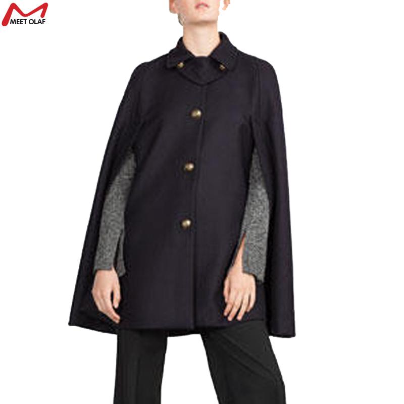 2015 Winter Coat Women Casual Shawl Wool Overcoat Hooded Poncho Batwing Half Sleeve Cape Cloak Coat YL1347(China (Mainland))