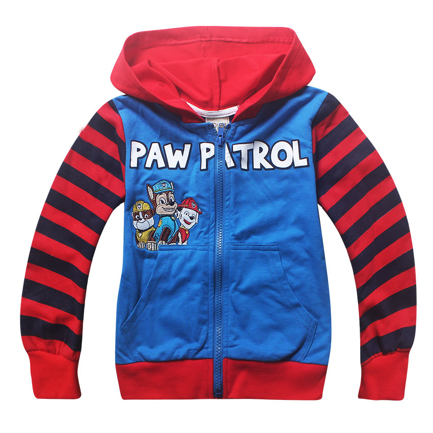 Puppy Dog Patrol Male Child Outerwear Coat Winter Clothing Children's Paw 2016 Long Design Fashion Jackets to 2-8 Year-Old Boy(China (Mainland))