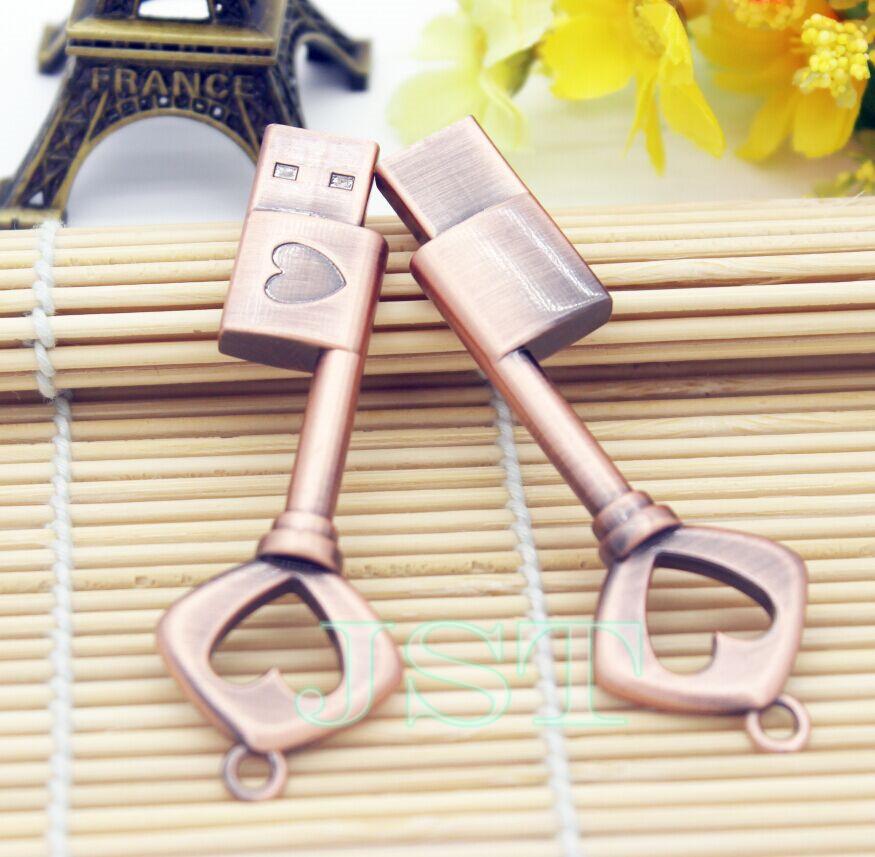 Key to love Metal USB flash drive U disk heart-shaped copper key 4GB 8GB 16GB 32GB pen drive pendrive menmory stick Flash Card(China (Mainland))