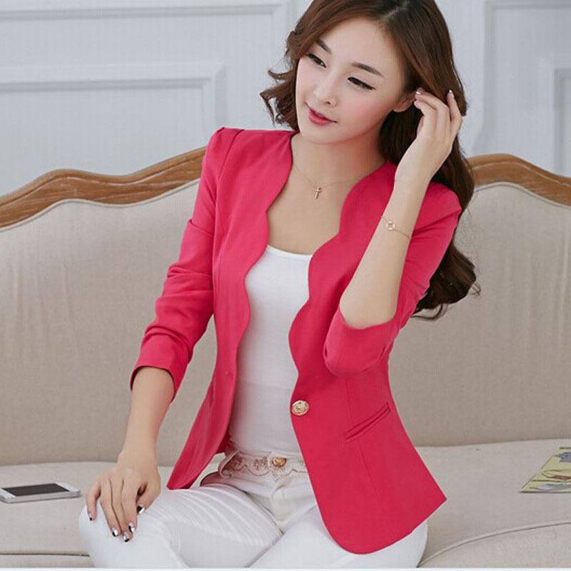 New Fashion 2016 Spring Autumn Women Suit Jacket Coat Solid Color Slim OL Ladies Work Wear Blazer Feminino Chaquetas Mujer 18(China (Mainland))