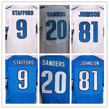 Detroit Lions ,Men's 9 Matthew Stafford 20 Barry Sanders 81 Calvin Johnson elite s,White and Blue,Size 40-56(China (Mainland))