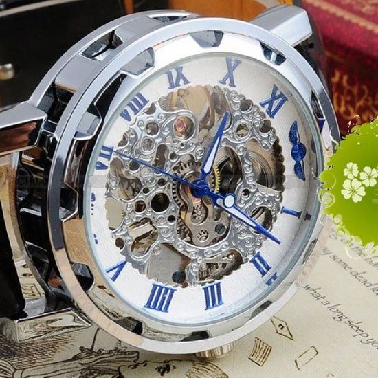 HK Post Or SG Post New Mechanical Skeleton Watch Black Leather Wrist Silver Men's Watch Military Free Shipping(China (Mainland))