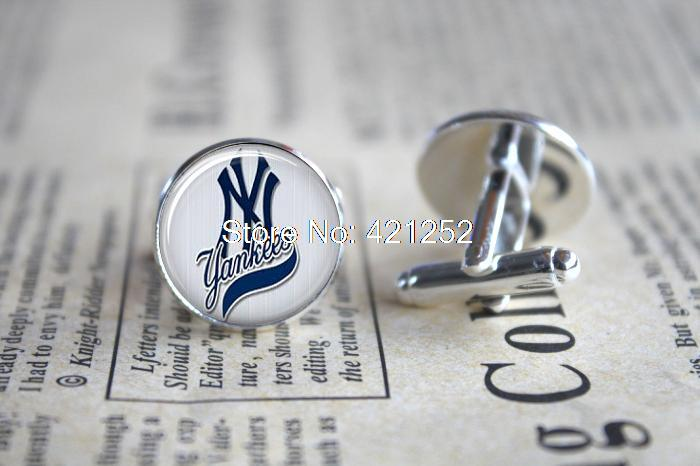 10pairs/lot Cuff NY Yankees Baseball Cufflinks - Gift for Him Men Father Birthday Sports Cufflinks(China (Mainland))