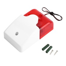 1Sets Mini Wired Strobe Siren Durable 12V Sound Alarm Strobe Flashing Red Light Sound Siren Home Security Alarm System 115dB(China (Mainland))