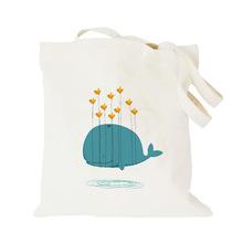 2016 Dolphin Whale Canvas Cotton Tote Bags / Eco Women Shoulder Handbags Shopping Tote 37*40 cm bolsa compra einkaufstasche