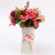 Europe Rattan Flower Vase Storage Square Basket Jardiniere Decor Home Wedding Party Decoration Wholesale(China (Mainland))