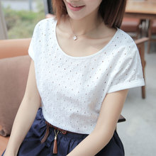 New Women Blouses Short Sleeve Summer Cotton Linen Fashion Hollow Out Floral Pullover Ladies Tops Shirt Clothing O-Neck