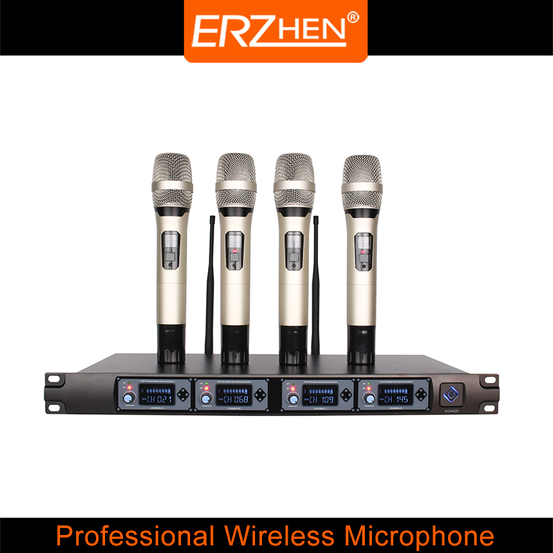 New Product 4 channel R-F8000L fixed frequency UHF wireless microphone family KTV best wireless microphone 4 can be OEM mic.(China (Mainland))