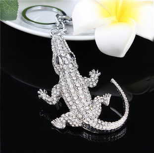 Man Animal Shape Accessary Jewelry 18 K Gold Plated Shine Crystal Crocodile Keychains - Blue Stone store