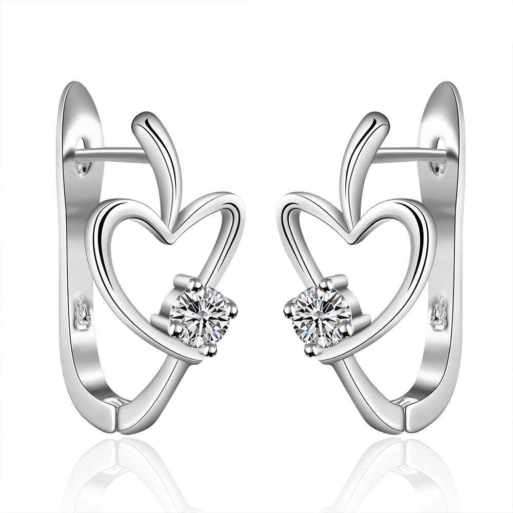 best friends 925 silver earings heart U stud orecchini 925 sterling silver Elegant SMTE603