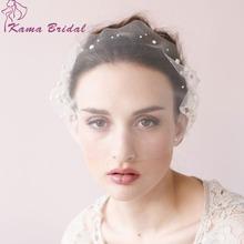 KAMA BRIDAL Romantic Pearls Beading Birdcage Veil Illusion Tulle Short Wedding Veils Bridal Facial Veil Cheap Accessories(China (Mainland))