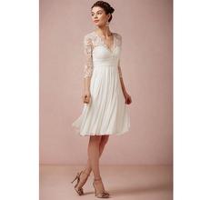 Buy Classical Lace Short Wedding Dress 2017 Vestido De Noiva Line Robe De Mariage Knee-Length Vintage Three Quarter Bridal Gown for $123.54 in AliExpress store