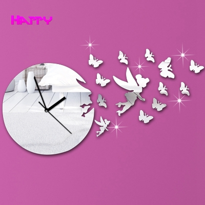 Butterfly Angel Girl DIY Mirror Wall Clock Home Decoration Adhesive Sticker Watch Best Gift Kids - YIWU MIRROR CRAFT FACTORY store