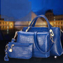 2016 New Women Fashion PU Leather Vintage Women Handbag Set Fashion Trendy Tote Shoulder Bags Cross body Messenger Bags BG243