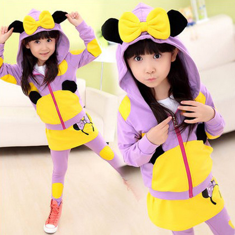 Sports Leisure Suit Color Matching Hat Suit Personality Cartoon Printing Belt Hat Suits Baby Girl Clothing B326<br><br>Aliexpress