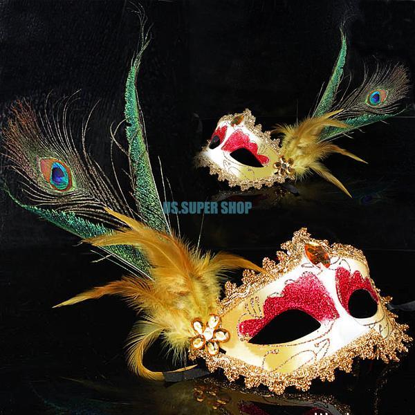 beautiful masquerade party mask halloween mascara paintball crystal mask peacock feather decor ES2161(China (Mainland))
