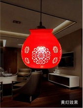 Modern LED E27 90 260V Chinese Style Living Room Bedroom Coffee Bar Jingdezhen Vintage Ceramic Red