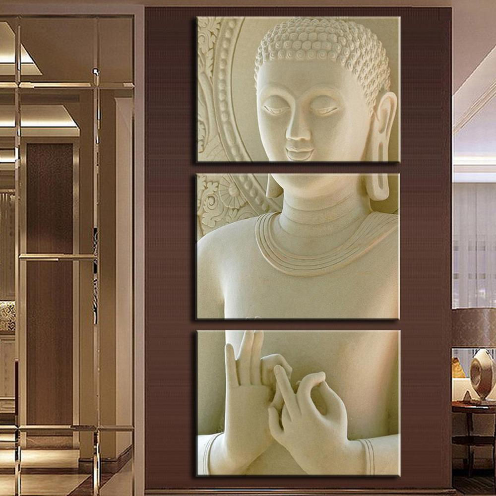 2016 modern buddha painting 3 picture home decoration for House decoration pieces