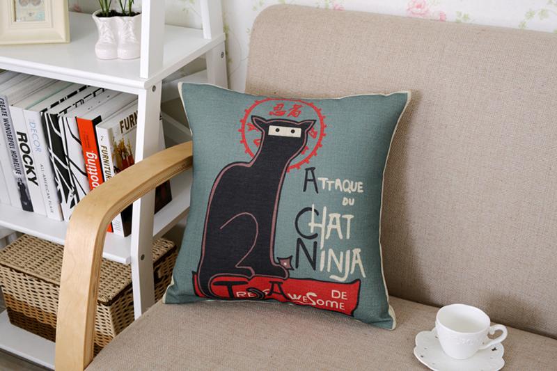 18 Square Cute Cartoon Cats Cotton Linen Cushion Cover Sofa Decorative Throw Pillow Home Car Chair