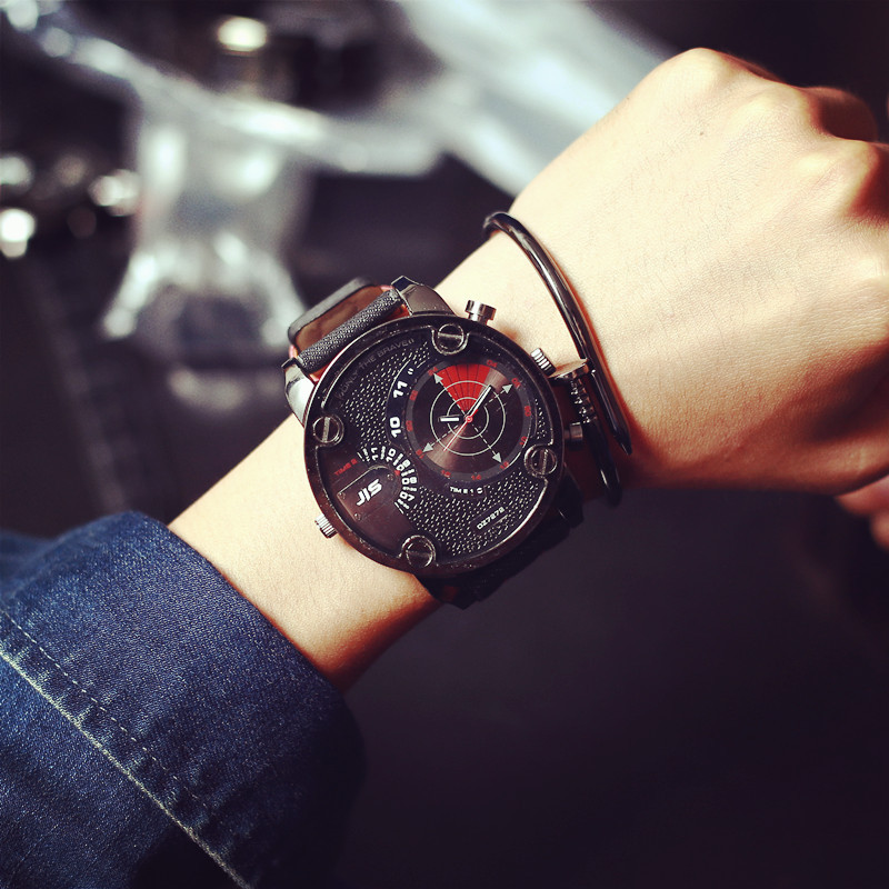New 2016TOP Brand JIS Quartz Watch Luxury Leather Men Watch Fashion Sports Wristwatch Clock Out door relogio masculino new hours(China (Mainland))