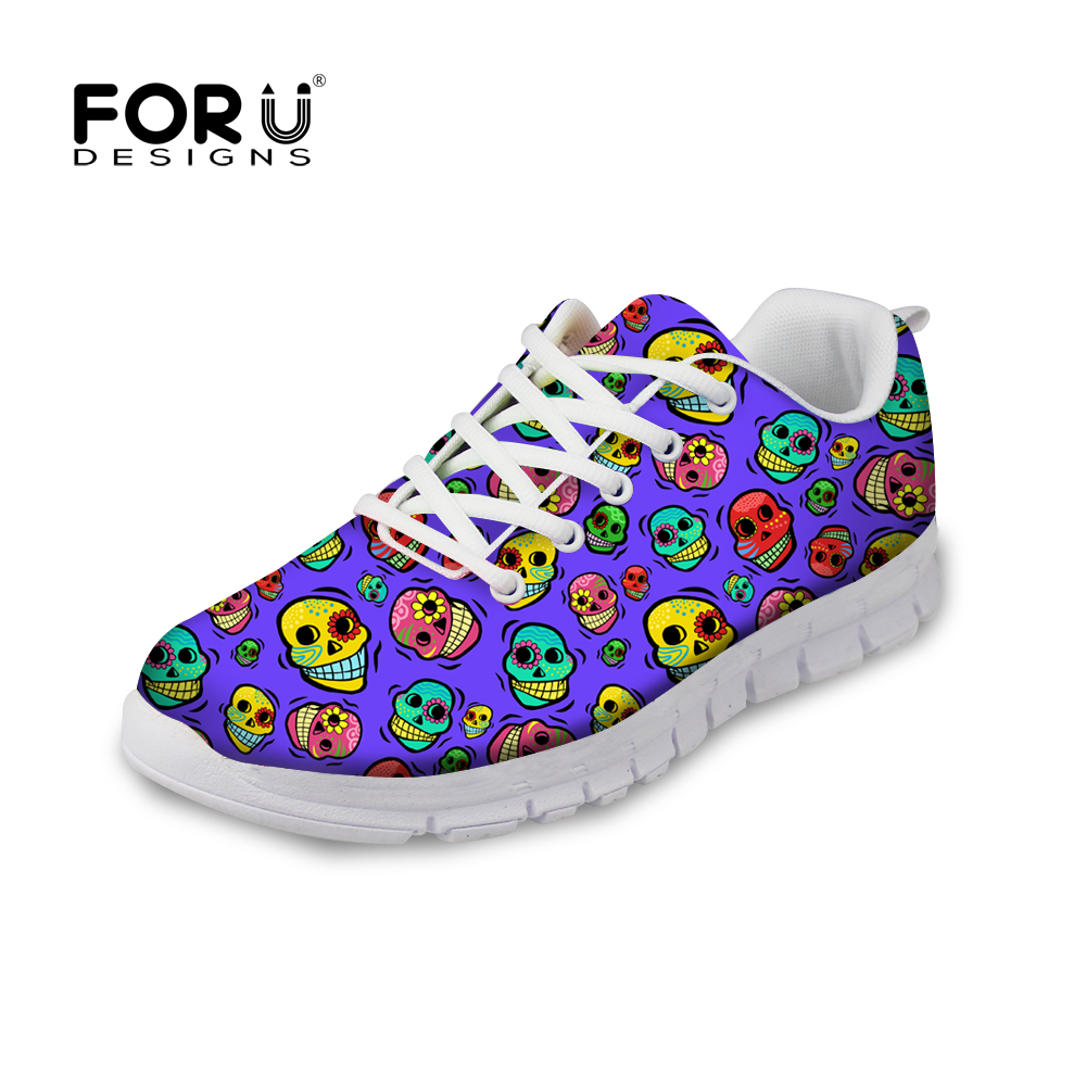 Female Zapatillas Mujer Fashion Skull Print Women Casual Shoes Comfortable Flat Footwear Sport Ladies Trainers Shoes EUR 35-40<br><br>Aliexpress
