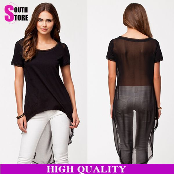 Buy plus size 2015 fashion arched hem for Shirts with see through backs