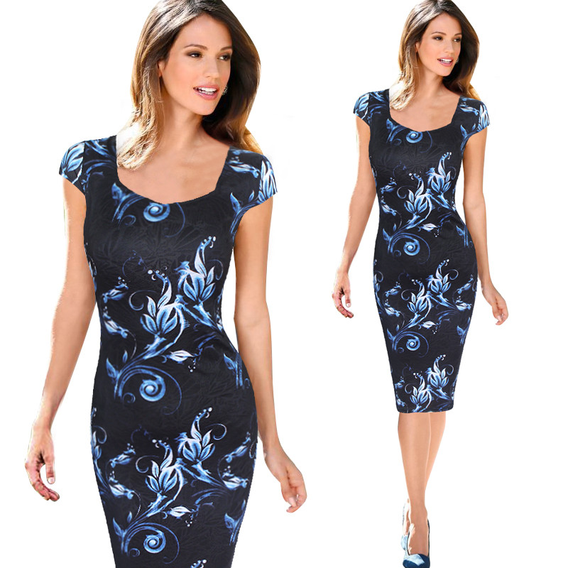 Women Dress Vestidos Free Shipping Designer Elegant Floral Print Work Business Casual Party Pencil Sheath Esp004(China (Mainland))