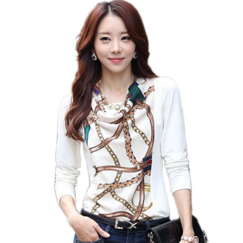 Perfect 2015 White Black Chiffon Blouse Shirts Long Sleeve Casual