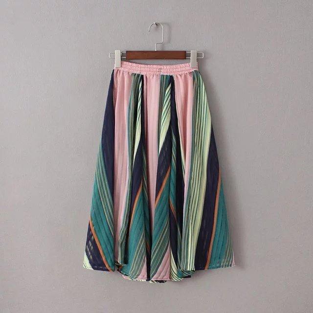 Oc66 американский мода 2016 женщин лето радуги прохладный шифон длинные юбки свободного ...