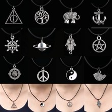 12 Style New Tibetan Silver Pendant Necklace Choker Charm Black Leather Cord Factory Price Handmade Jewlery
