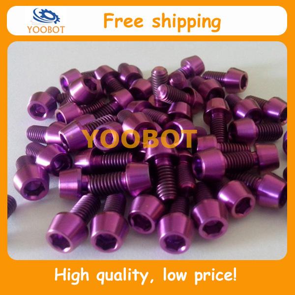 Free Shipping,Aerospace Material GR5(Ti6Al4V) Purple M6x10mm Titanium Taper Conical Head Screws Bolts For Thomson, Ritchey,etc.(China (Mainland))