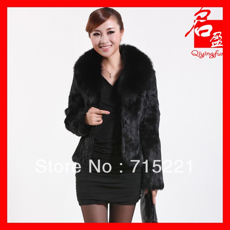 2013 EMS free shipping the female winter jackets vintage real rabbit fur products fashion short fur coat(China (Mainland))