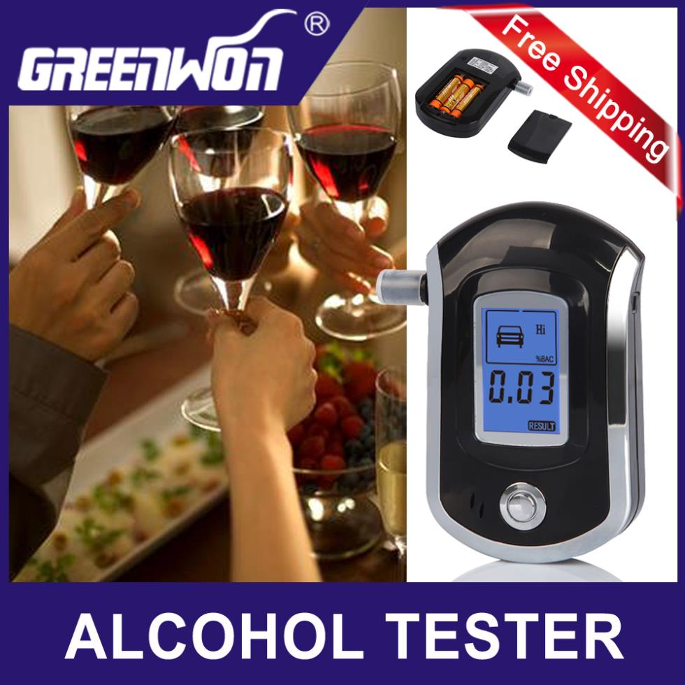 AT6000 LCD Professional Police Digital Alcohol Breath Tester Meter Analyzer Portable Breathalyzer Detector with 5 mouthpieces(China (Mainland))