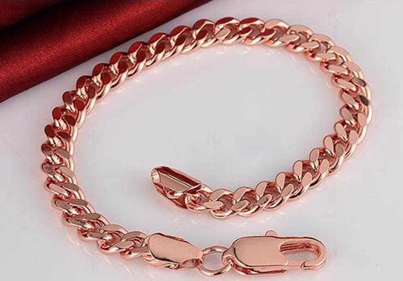 Heavy Massive Stamped 18k Rose Gold Plated Mens Womens Bracelet Chain Cuban Link Jewelry 20cm(China (Mainland))