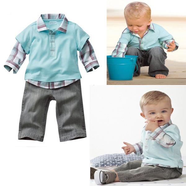 ! Hot Sale! New Baby boys Long-sleeved Lapel plaid shirt + trousers suit baby two-piece top pants set 5set/lot