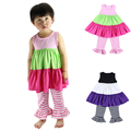 Factory Sale!Long Sleeve Cotton Baby Girl Clothing Set,kids solid ruffled dress and ruffled pants sets kid outfits Free shipping
