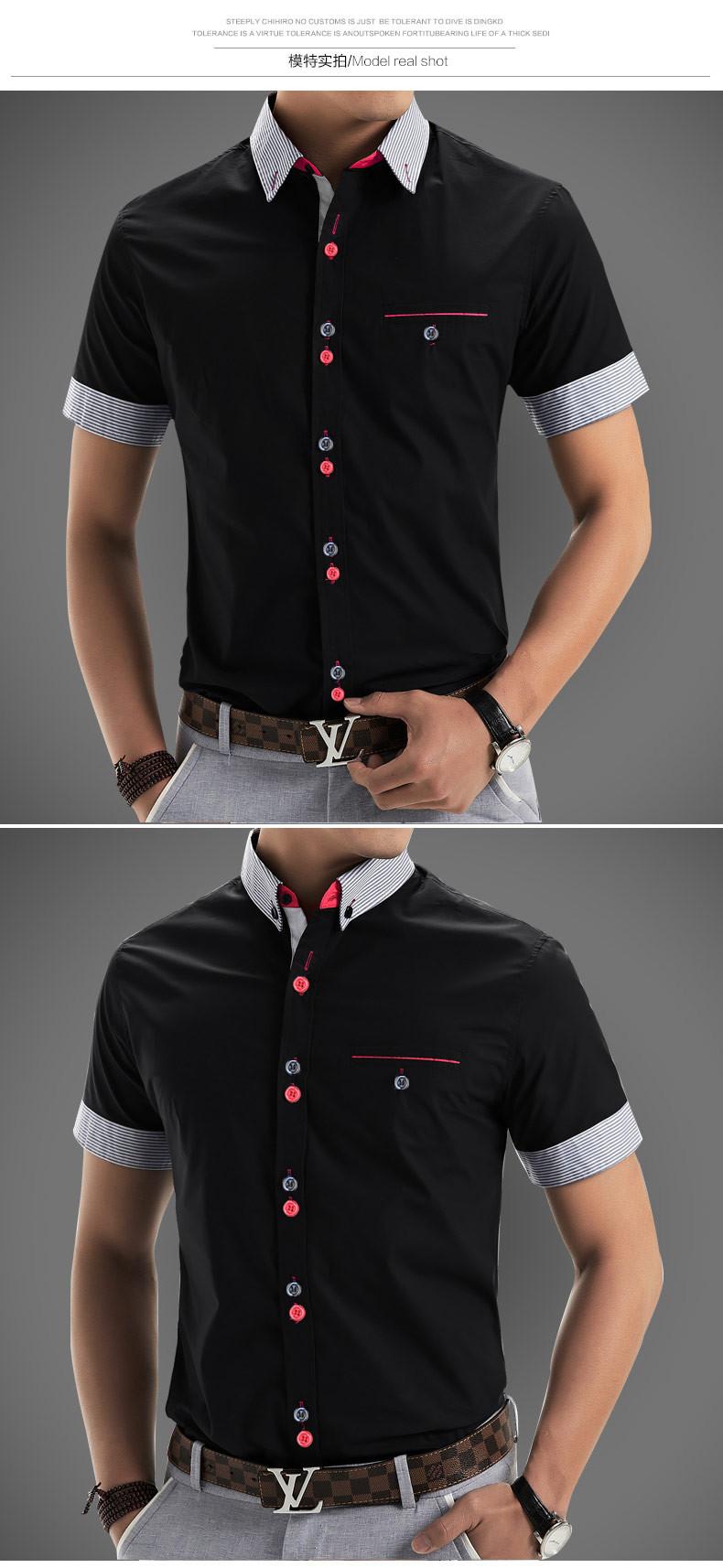 2015 Men Shirt New Brand Shirts Short Sleeve Casual Shirt Men Slim Fit Brand Design Formal Shirt Camisa Social Chemise Homme3