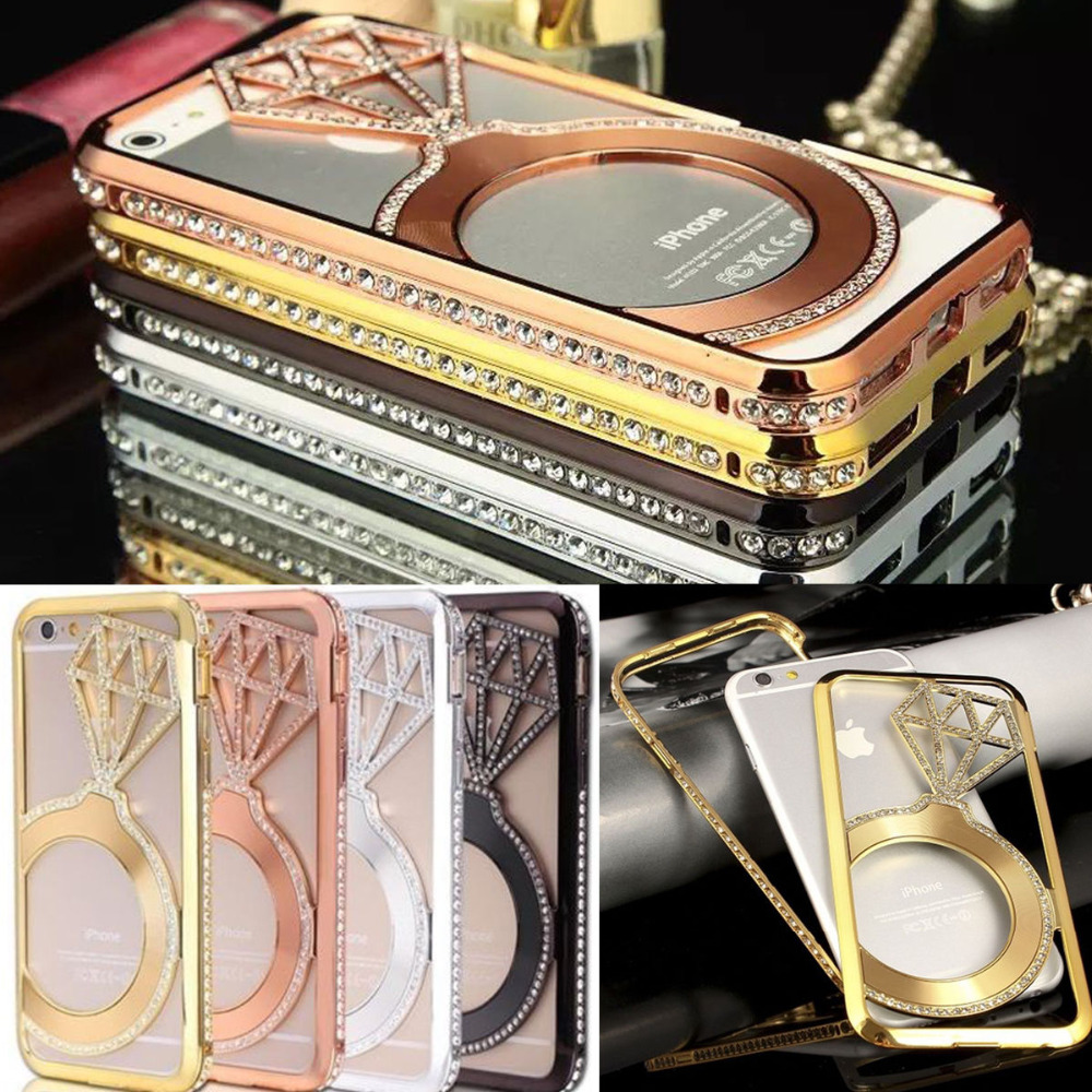 United States Domestic Delivery for iPhone 6 6s Case 4.7 Inch Luxury Metal Frame Rhinestone Bumper Diamond Ring Cover(China (Mainland))
