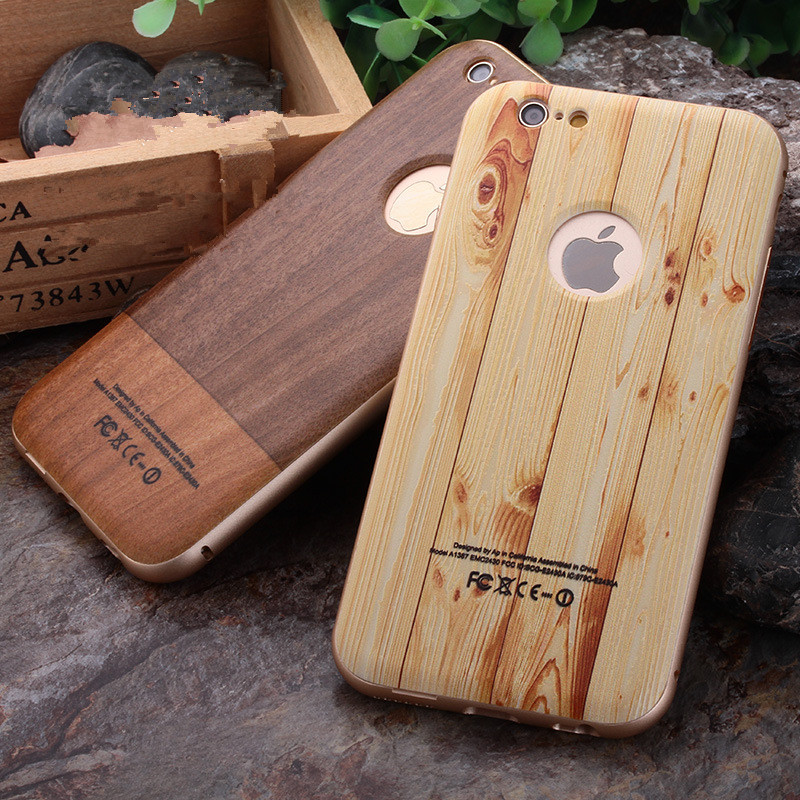 Luxury Plating Aluminum Metal Frame Bumper + Wood Bamboo Pattern PC Back Cases For iPhone 5 5s SE 6 6s 6plus Plus Hard Cover(China (Mainland))