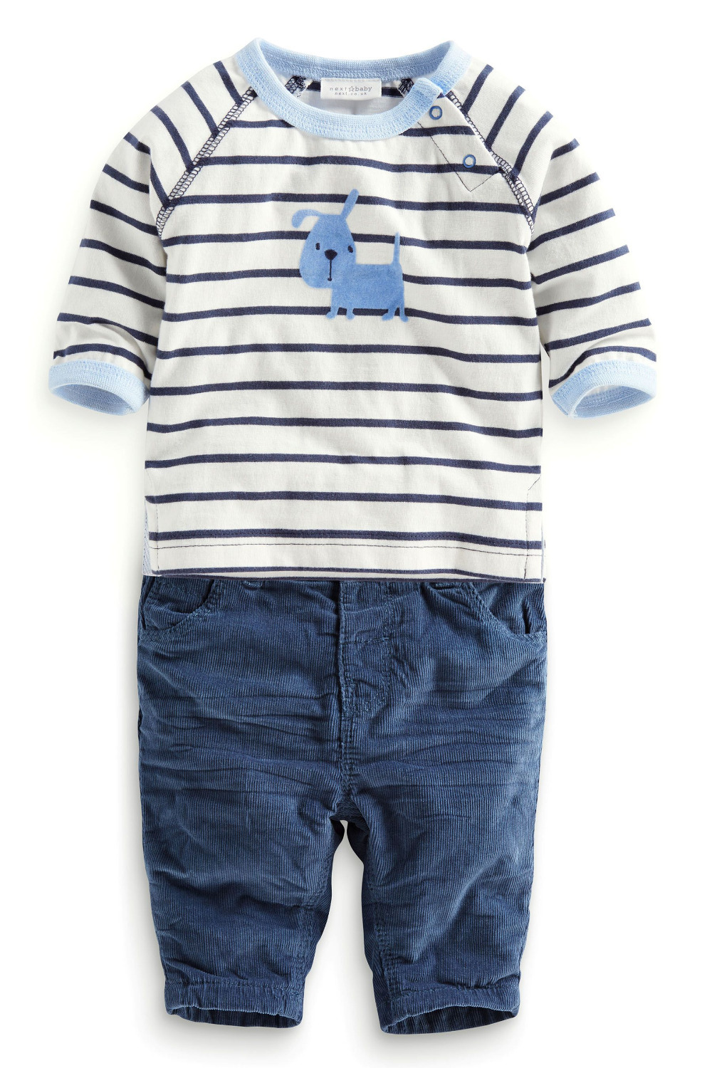 1PS retail!Kids handsome baby boy clothes striped long-sleeved T shirt + corduroy pants Baby warm suit - Panda small shops store
