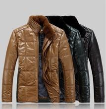 Free shipping Men's wear new leather coats, fox collars, white duck down seven Wolf down jacket, collar sheepskin coat (China (Mainland))