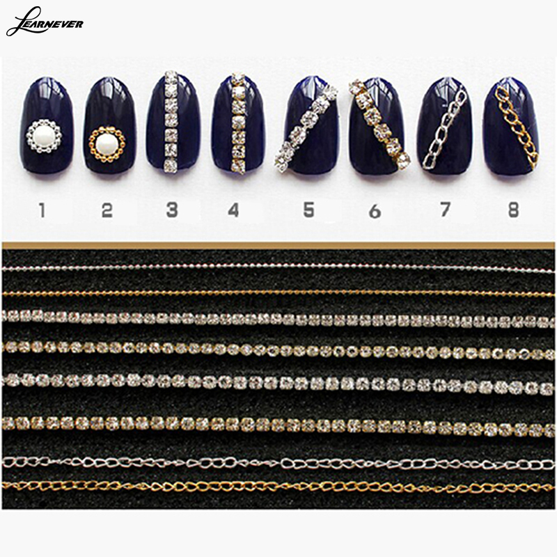 20cm Gold Silver Mini Shiny Rhinestones Chain Nail Studs Charming 3D Nail Art Chains Nail Charms Nail Decoration M02768(China (Mainland))