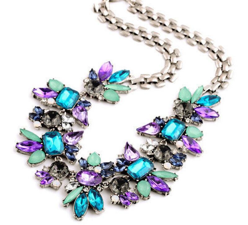 Fashion Vintage Statement Choker Necklace Collier femme Colorful Resin Gem Necklaces &amp; Pendants Maxi Chunky Necklaces<br><br>Aliexpress