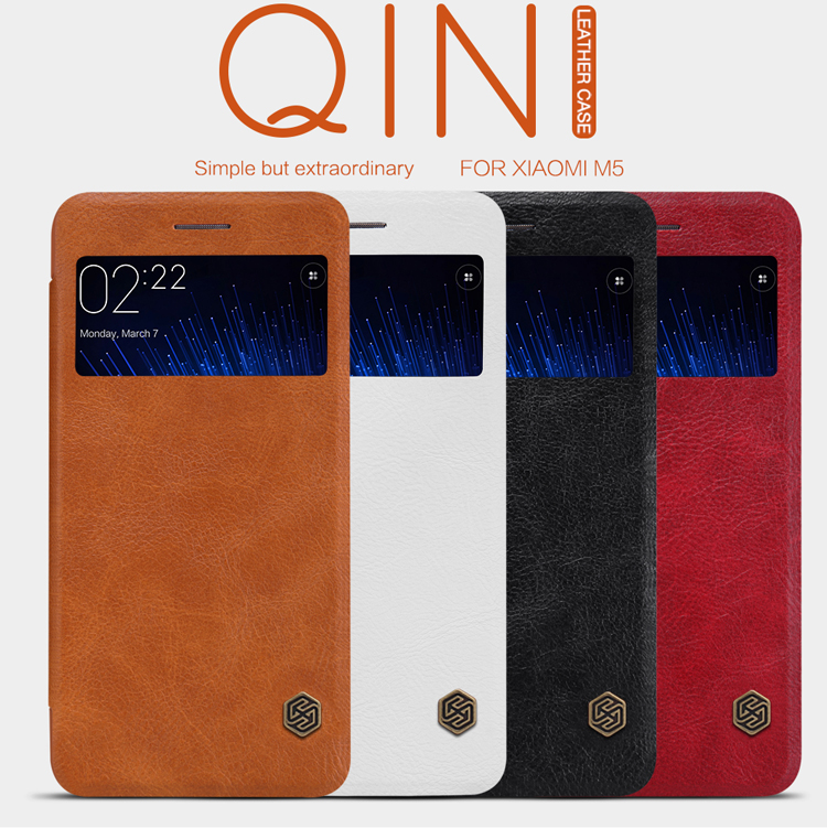 Original Nillkin XIAOMI MI5 M5 Flip Leather Case Luxury Wallet Cover Phone Cases With Retail Box(China (Mainland))
